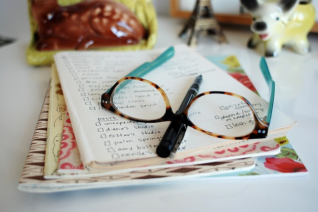 monday's list: Lists Planning Things, Organization, Glasses, Notebooks, Journaling, Blog, List Tips
