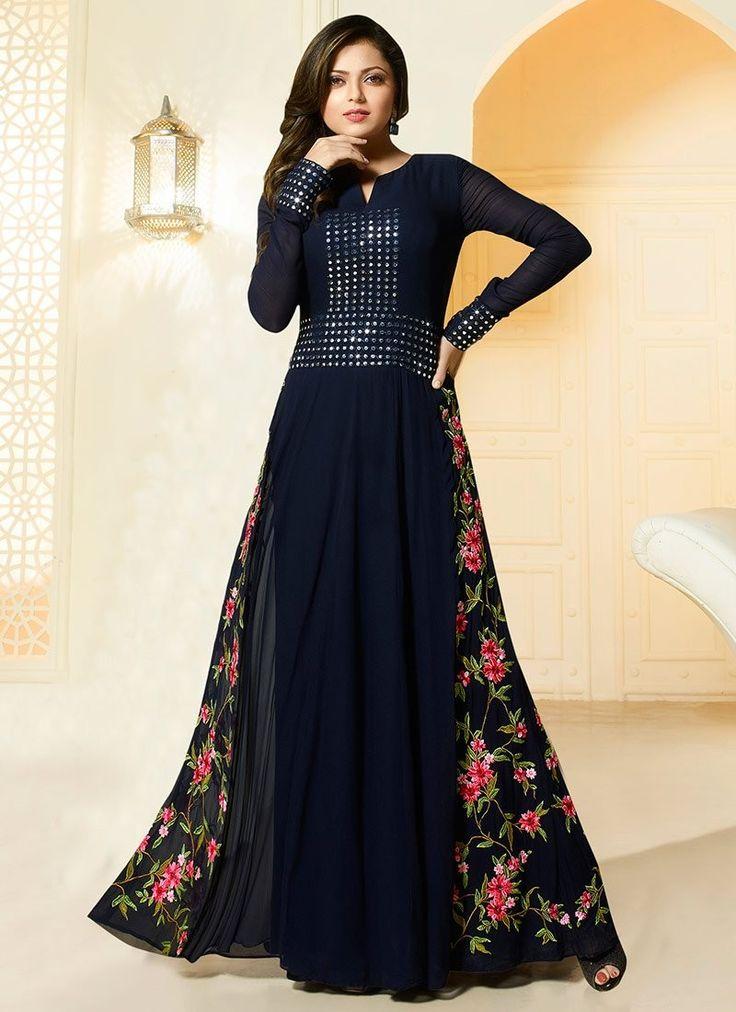 Shop Drashti Dhami royal blue color georgette party wear salwar kameez online at…