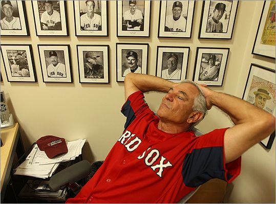 Under the portraits of Red Sox managers past, Red Sox manager Bobby Valentine rested his eyes for a moment before doing the lineups for a game against the Twins.