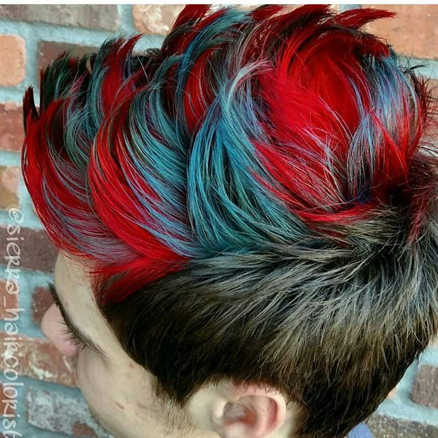 So much fun with L'anza Vibes! Men can rock color too! #lanza #lanzavibes #red…