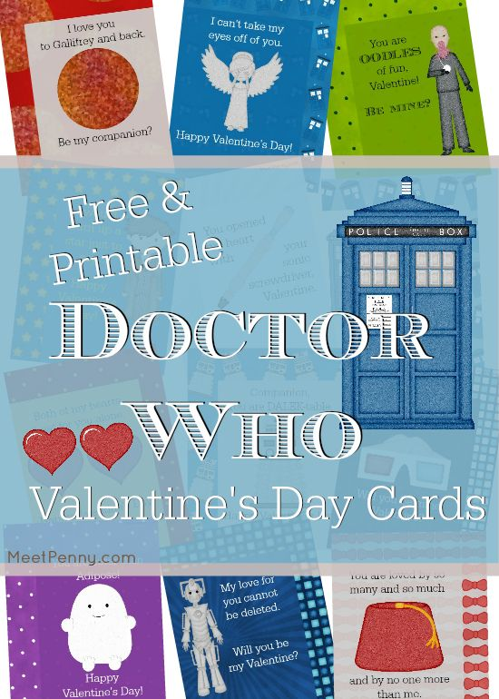 Free Printable Doctor Who Valentine's Day Cards - 12 different designs so you can find the perfect one for each companion!