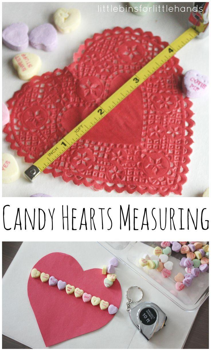 Candy Heart Measuring Math Exploration Preschool Math Activity