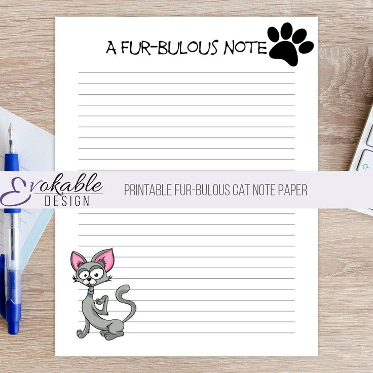 Printable Fur-Bulous Cat Note Paper by EvokableDesign on Etsy