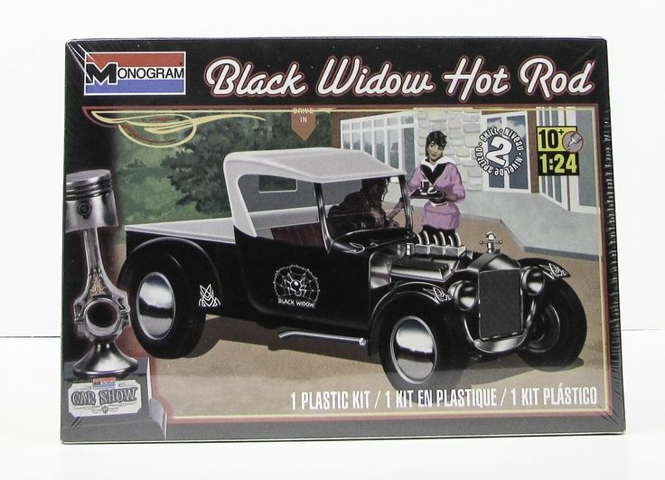 Black Widow Hot Rod Monogram 85-4324 1/24 New Car Plastic Model Kit - Shore Line Hobby