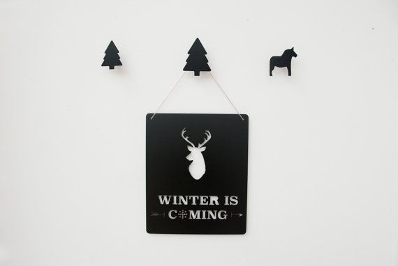 Winter Is Coming, Metal Wall Art, Game Of Thrones, Fans Quote Plaque, Deer Wall Decor, Metal Sign
