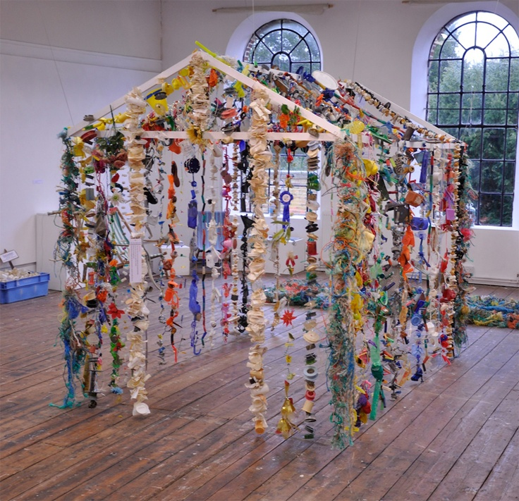 An oil age hut - created with marine debris collected from Suffolk's beaches.             Gloucestershire Resource Centre http://www.grcltd.org/scrapstore/