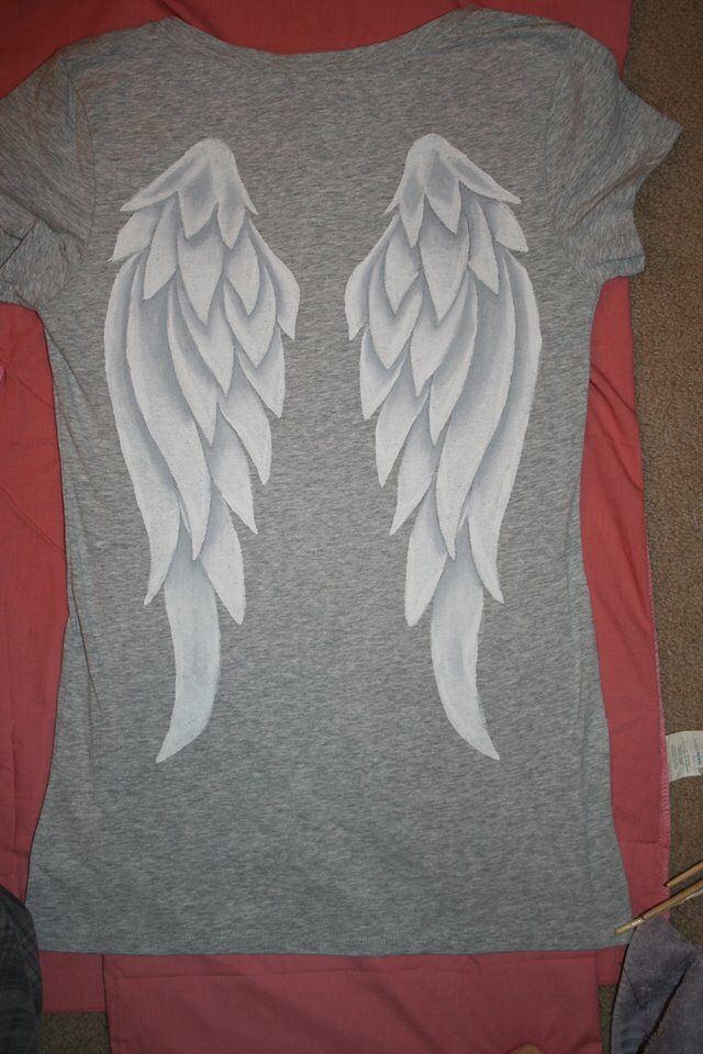 Making a t-shirt for the Walker Stalker convention. These are the mostly finished Daryl angel wings on the back! Hand painted with fabric paints.