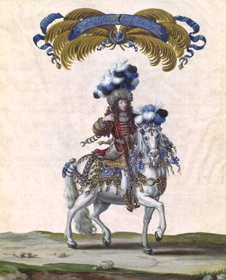 "Prince de Condé as the emperor of the turks in the Grand Carrousel in 1662. He carried the islamist crescent moon with the motto ""Crescit ut Aspicitur"". His costume was made of silver embroidered red satin with diamonds and turquoises and half moons hanging./ Príncipe de Condé como emperador de los turcos en el Grand Carrousel. Llevaba la media luna islamista con el lema ""Crescit ut Aspicitur"". Su traje era de satén rojo bordado en plata con diamantes y turquesas y medias lunas colgando."