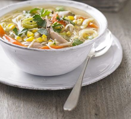 Chicken, sweetcorn & noodle soup. This superhealthy bowl can be made ahead and frozen, ready to be defrosted and used when you need it most.