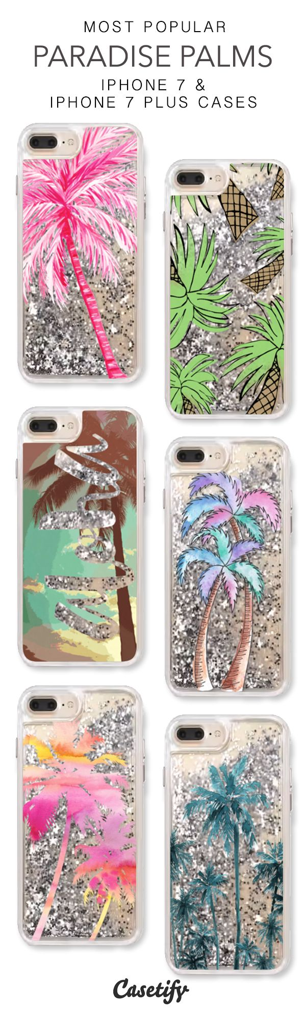Most Popular Paradise Palms iPhone 7 Cases & iPhone 7 Plus Cases. More protective summer liquid glitter iPhone case here > https://www.casetify.com/en_US/collections/iphone-7-glitter-cases#/?vc=tk9Ukhscmc