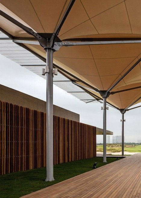Rio 2016 Olympic Golf Course includes rainwater-collecting canopy by Rua Arquitetos