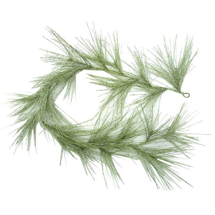 Glitter Long Pine Leaf Garland- 6-ft