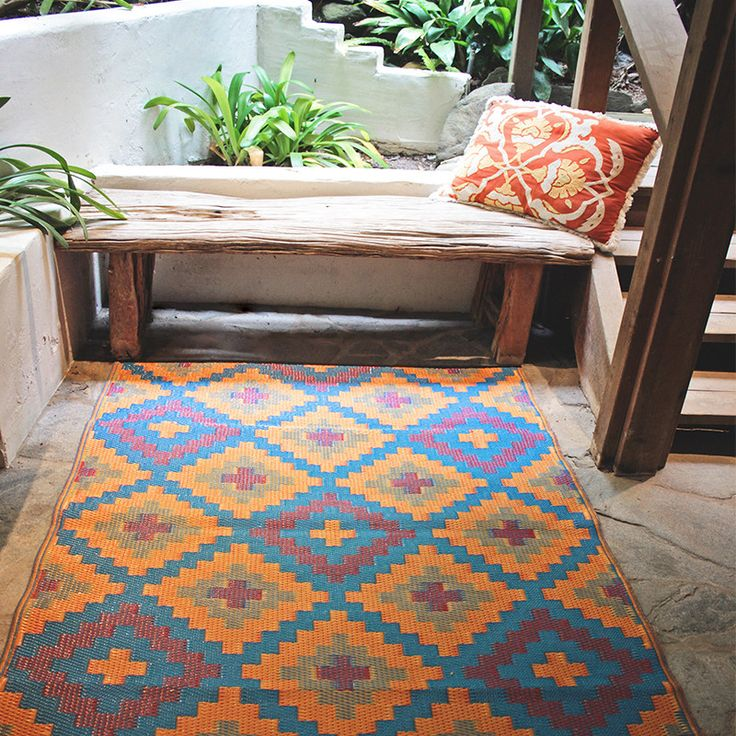 Another enviro outdoor rug! Pattern Orange & Blue - Style My Home Australia by stylemyhome.com.au ONLY $70