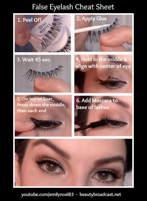Applying fake eyelashes