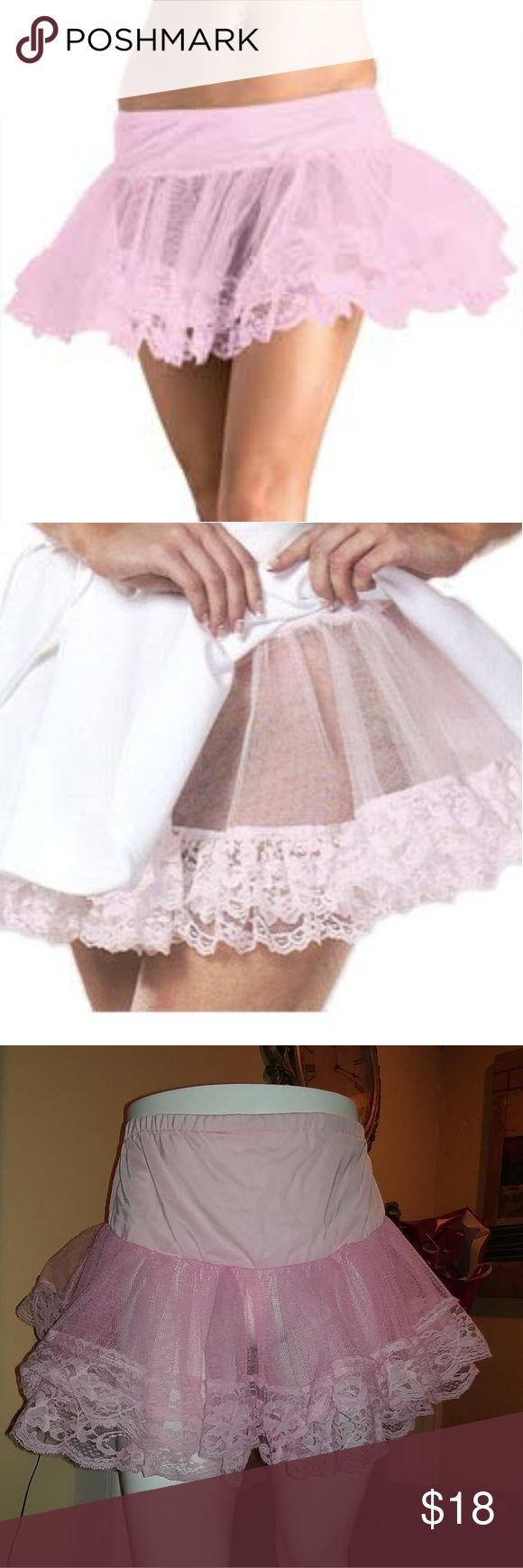 Pink petticoat with lace trim There's something both beautifully feminine and wonderfully sexy about a pink lace petticoat peeking out from under a costume. Whether you're going the tried-and-true French Maid route or letting your inner Miss Piggy out, this Sexy Pink Petticoat Lace Slip can bring your costume to the next level. Leg Avenue Skirts Mini