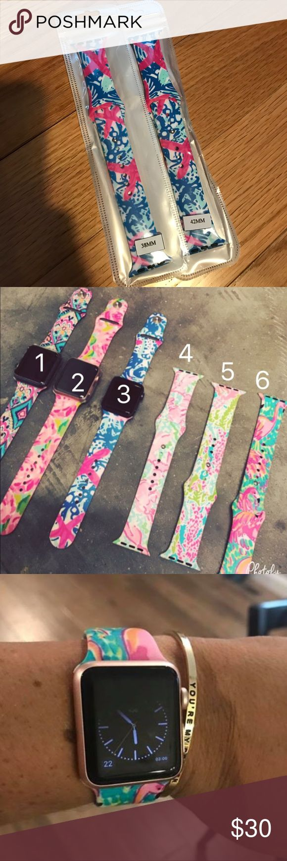 🎀NEW🎀LILLY APPLE WATCH BAND STARFISH PRINT 🎀NEW🎀LILY APPLE WATCH BAND. This listing is for the STARFISH Print. See 1st pic. Lilly Inspired boutique brand made of Silicone ❌no trading or holding🎀MY PRICE IS FIRM🎀NOT ACCEPTING OFFERS Lilly Pulitzer Accessories Watches