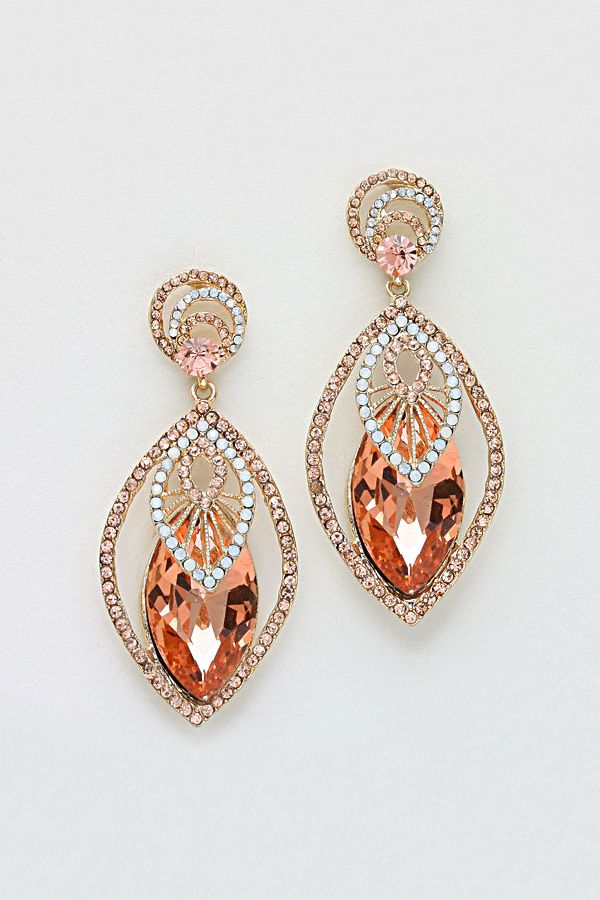 Crystal Anne Earrings in Rose Champagne on Emma Stine Limited
