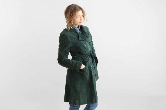 Vert Suede Trench Coat, veste en cuir daim ceinturé, forêt vert daim Double boutonnage manteau 70 / taille petite à moyenne