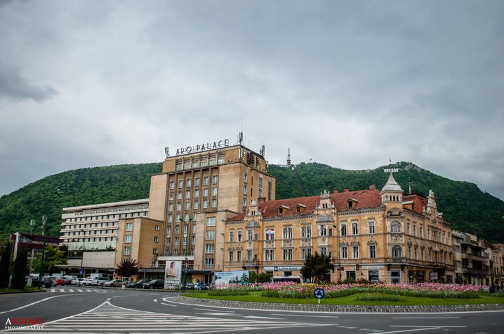Aro Palace Hotel and Tampa mountain in the background seen on a cold day of May 2015.  © www.asoimu.com  #Brasov #AroPalace #Tampa