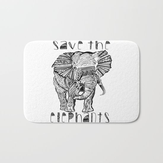 Save the elephants bath mat. Artwork by award winning artist Liss Brown.The perfect bath mats: fuzzy, foamy and finely enhanced with brilliant art. With a soft, quick-dry microfiber surface, memory foam cushion and skid-proof backing, our shower mats are a cut above your typical rug. Keep them clean with a gentle machine wash (no bleach!) and make sure to hang dry.