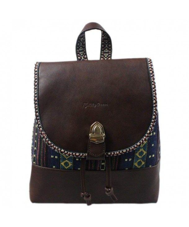24217d66aa Women PU Canvas Drawstring Boho Weave Backpack Shool College Bag ...