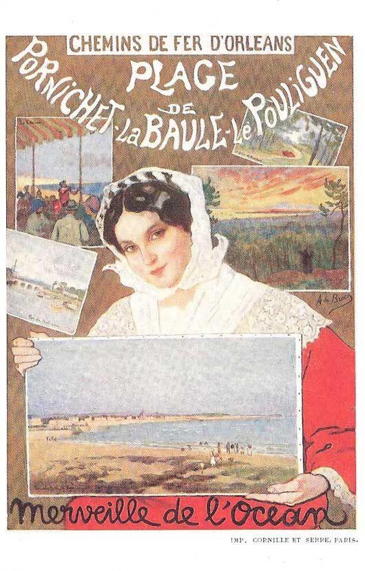 """Affiche retro vintage """"Plage de Pornichet / La Baule / Le Pouliguen"""" - Chemins de fer d'Orléans - Le deuxième prix est remporté par Alexis de BROCA"""