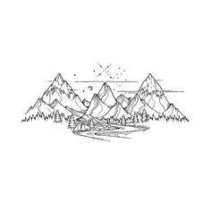 Tattoo Design von Mountain Lines #blackworknow Wenn Sie gesponserte Beiträge auf Anfrage sehen möchten, wenden Sie sich bitte an blackworknow @ gmai
