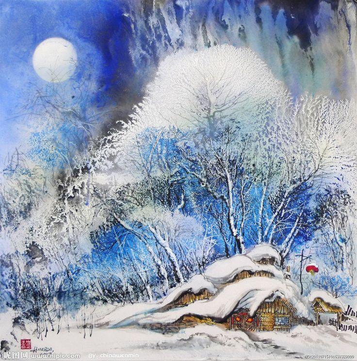 Зимние акварельные картинки
