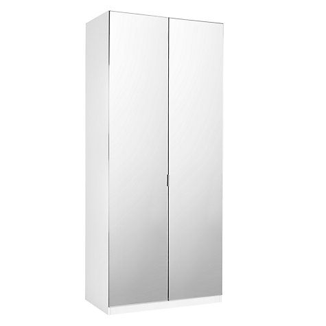 Buy House by John Lewis Mix it Tall Mirrored Double Wardrobe, Mirror/Matt White Online at johnlewis.com