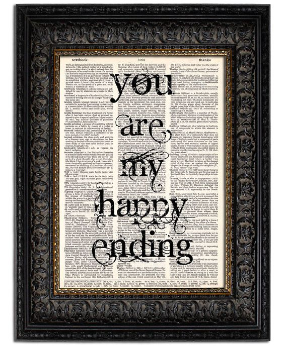 Wedding Sign Quote Print YOUR Are My HAPPY ENDING by Vintagraphy, $10.00
