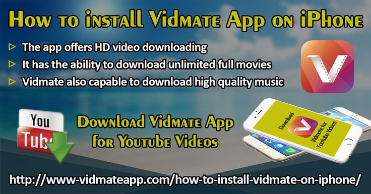 Vidmate is a perfect tool for downloading different types of videos from video streaming sites like DailyMotion, Vuclip, Vimeo, YouTube, LiveLeak etc. In addition, it allows to download videos from several social media websites including Facebook and Instagram.   Website: http://www-vidmateapp.com/how-to-install-vidmate-on-iphone/