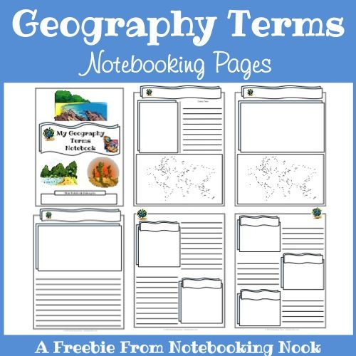 Freebies - Geography Terms Notebooking Pages