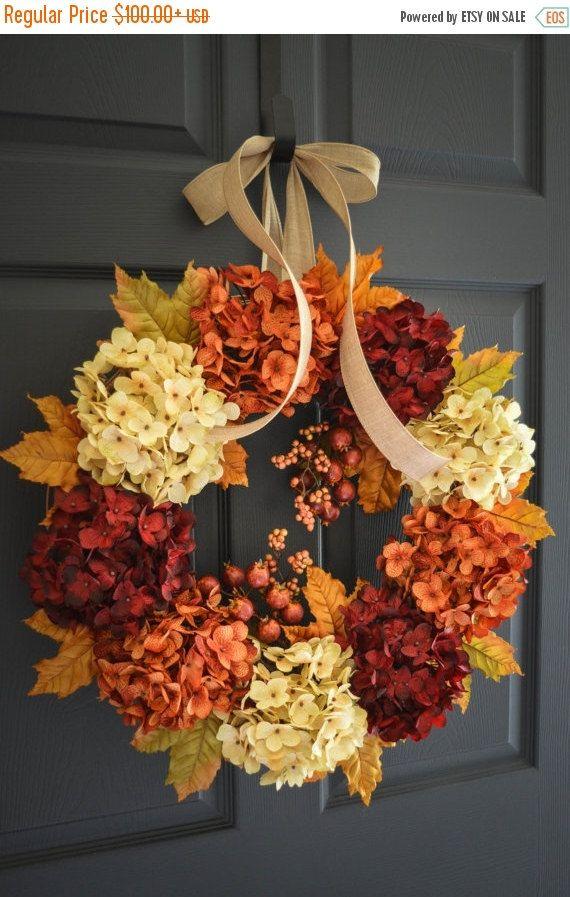Hortensia corona de otoño Guirnalda de otoño por HomeHearthGarden