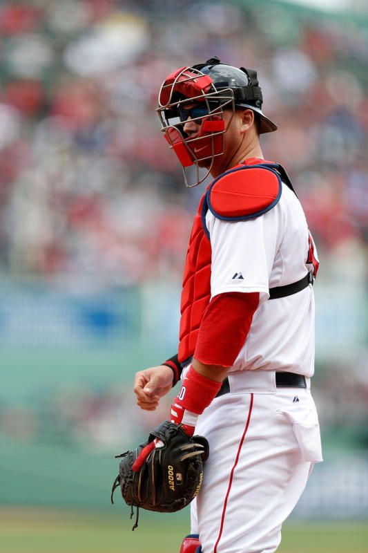 May 4, 2014; Boston, MA, USA; Boston Red Sox catcher A.J. Pierzynski (40) gets set during the first inning against the Oakland Athletics at Fenway Park. (Greg M. Cooper-USA TODAY Sports)