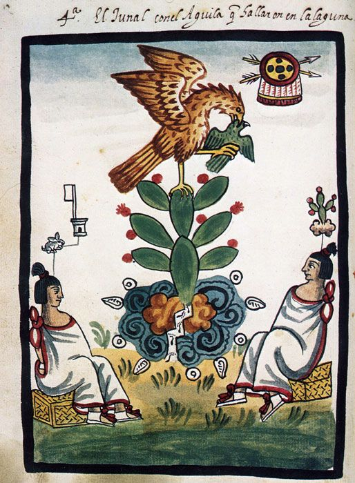 The Founding of Tenochtitlan, plate IV from the 'Manuscrito Tovar'