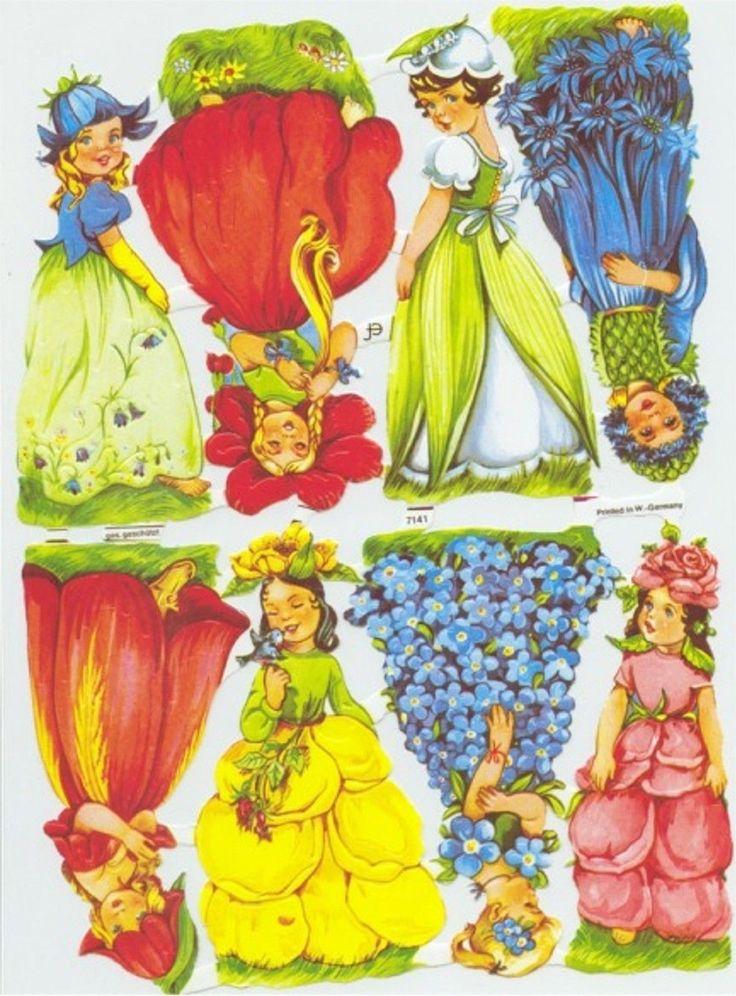Glanzbilder Oblaten Scraps Lackbilder ef 7141 Märchen Blumenkinder Elfen süß   eBay