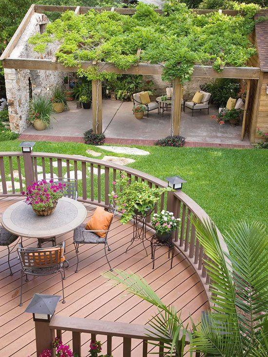 Pátios e plataformas de madeira do quintal Idéias de design #BackyardWoodPatios #BackyardBaralhosIdeas #PatiosDesign   – Garden Lovers