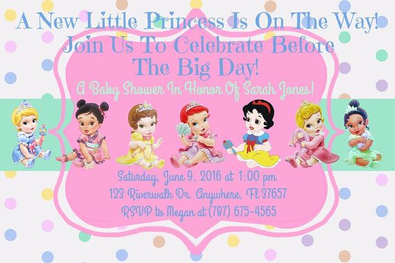 Princess Disney Baby Shower Invitation Download - Disney Princess Invitation - 4 x 6 - Print
