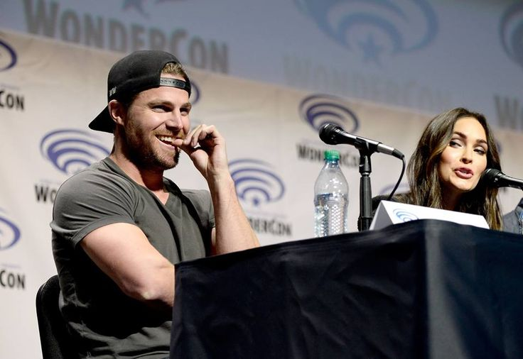 Stephen Amell and Megan Fox at the 2016 WonderCon. #WonderCon #TMNT2 #StephenAmell #MeganFox