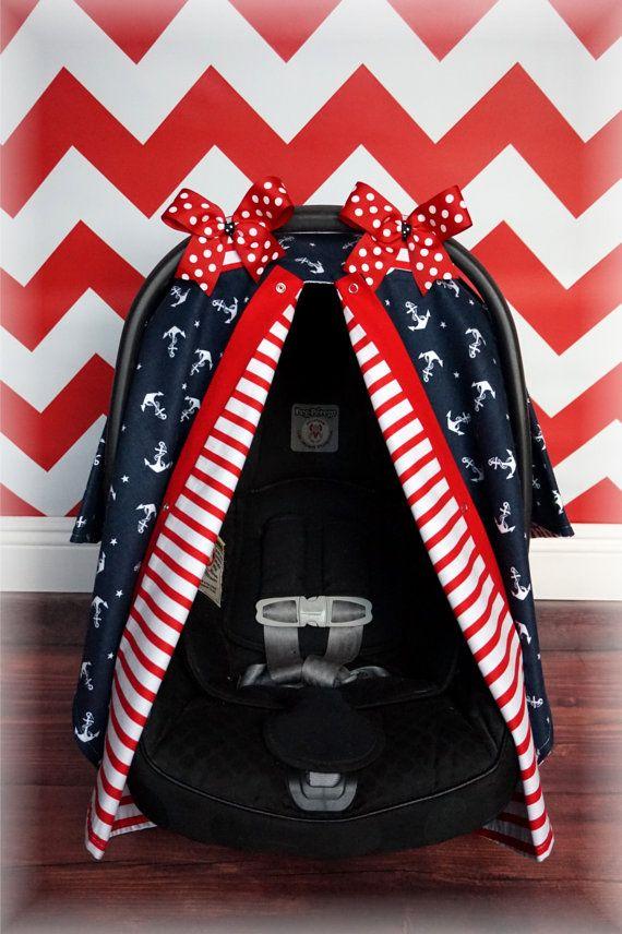 Jaydenandolivia FLANNEL NAUTICAL Carseat Canopy Car Seat Cover By JaydenandOlivia
