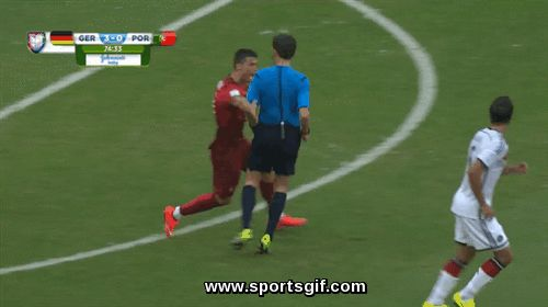 Portugal star Cristiano Ronaldo charges at the ref in a loss to Germany