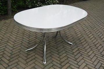 Licht gemêleerde originele jaren 50 / 60 Bel Air diner tafel. Lengte 121 cm, breedte 88,5 cm, hoogte 75 cm.