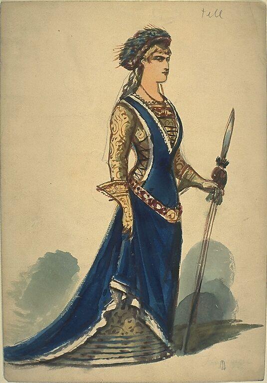 Kostümentwurf für eine weibliche Figur aus 'Wilhelm Tell' von Friedrich von Schiller | Franz Gaul | Bildindex der Kunst & Architektur