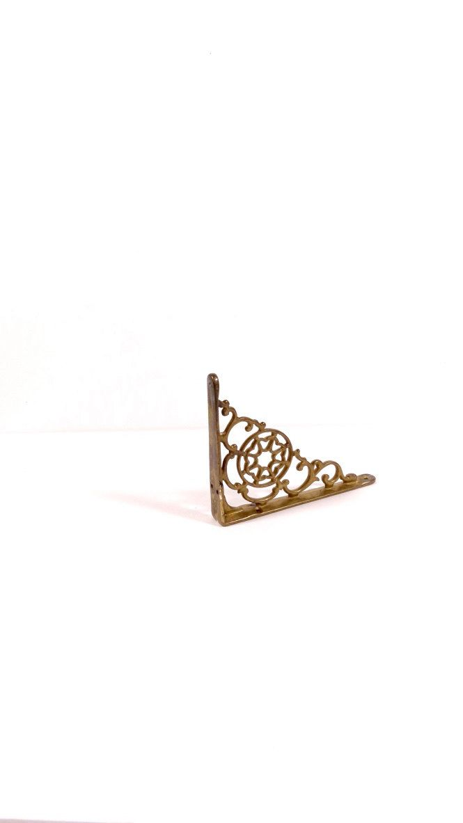 Intricate Cast Brass Shelf Bracket - Vintage Solid Brass Bookend