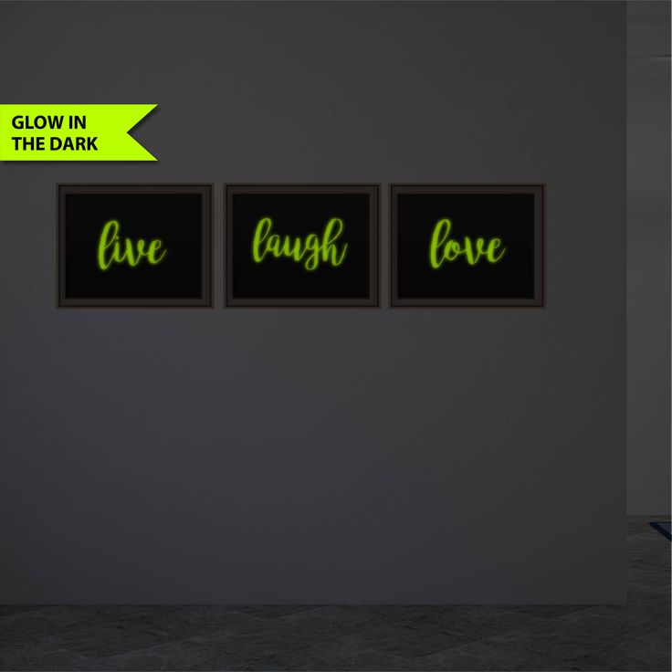 Live Laugh Love Glow In The Dark Print 3 Piece Decor Prints Unique Home Decor Gift Bedroom Art Inspirational 8x10 Prints Motivational Quote by FixateDesigns on Etsy