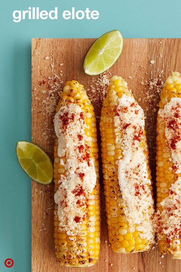 Summer's the best time for some street style Elote. Grilled corn on the cob rolled in a dippy spread made with mayo, sour cream, garlic and lime juice. Once it's nicely coated, sprinkle with a generous portion of parmesan and chili powder. So who's hungry for this summer dish?