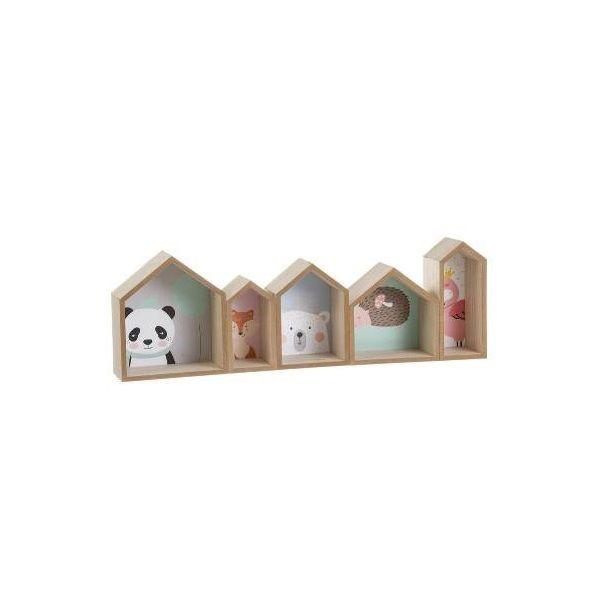 Estante de madera natural con 5 compartimentos diferenciados por animales. Medidas: 8 x 60,5 x 19,5 cm. Material: Madera.