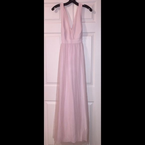 Pale pink formal v neck dress Worn once, slightly dirty at the bottom (but only noticeable on the inside of the dress). Besides that, it is in great condition! Bottom is made out of a tulle material BCBGeneration Dresses Prom
