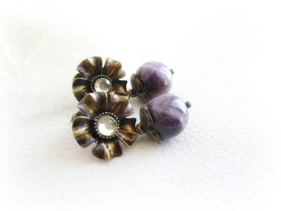 Purple amethyst earrings gemstone flower stud by MalinaCapricciosa