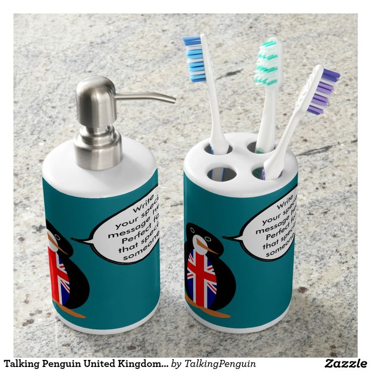 Talking Penguin United Kingdom Flag Soap Dispenser & Toothbrush Holder